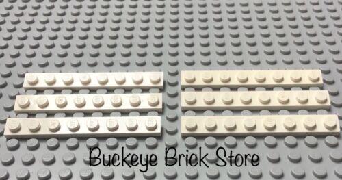 LEGO Six 1x8 White Plates 7191 10129 4560 10177 10189 10256 1575 10212 398 10021