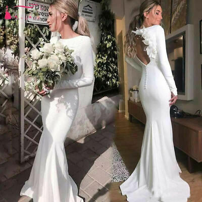 Modest Long Sleeve Wedding Dress Satin Applique A Line Train Bridal Gown Custom