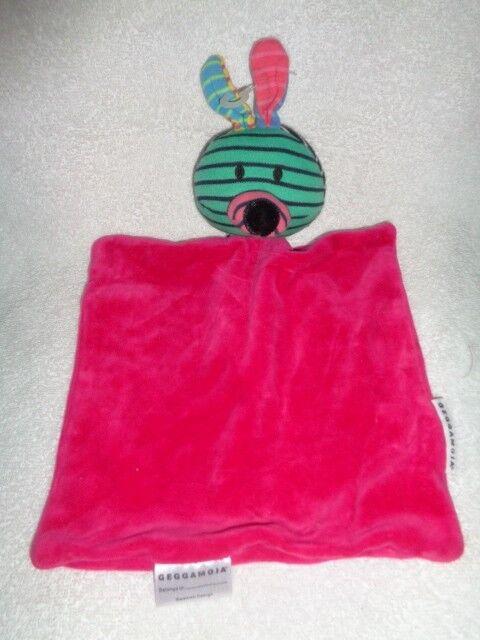 Security Blanket Bunny Colorful stripe GEGGAMOJA Swedish Organic Cotton Baby HTF