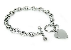 Stainless-Steel-Heart-Charm-Tag-Toggle-Bracelet-7-5-034-FREE-ENGRAVING