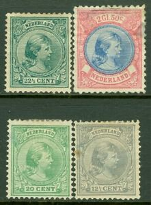 EDW1949SELL-NETHERLANDS-1891-94-Scott-44-46-47-53-All-Mint-OG-Cat-527-00