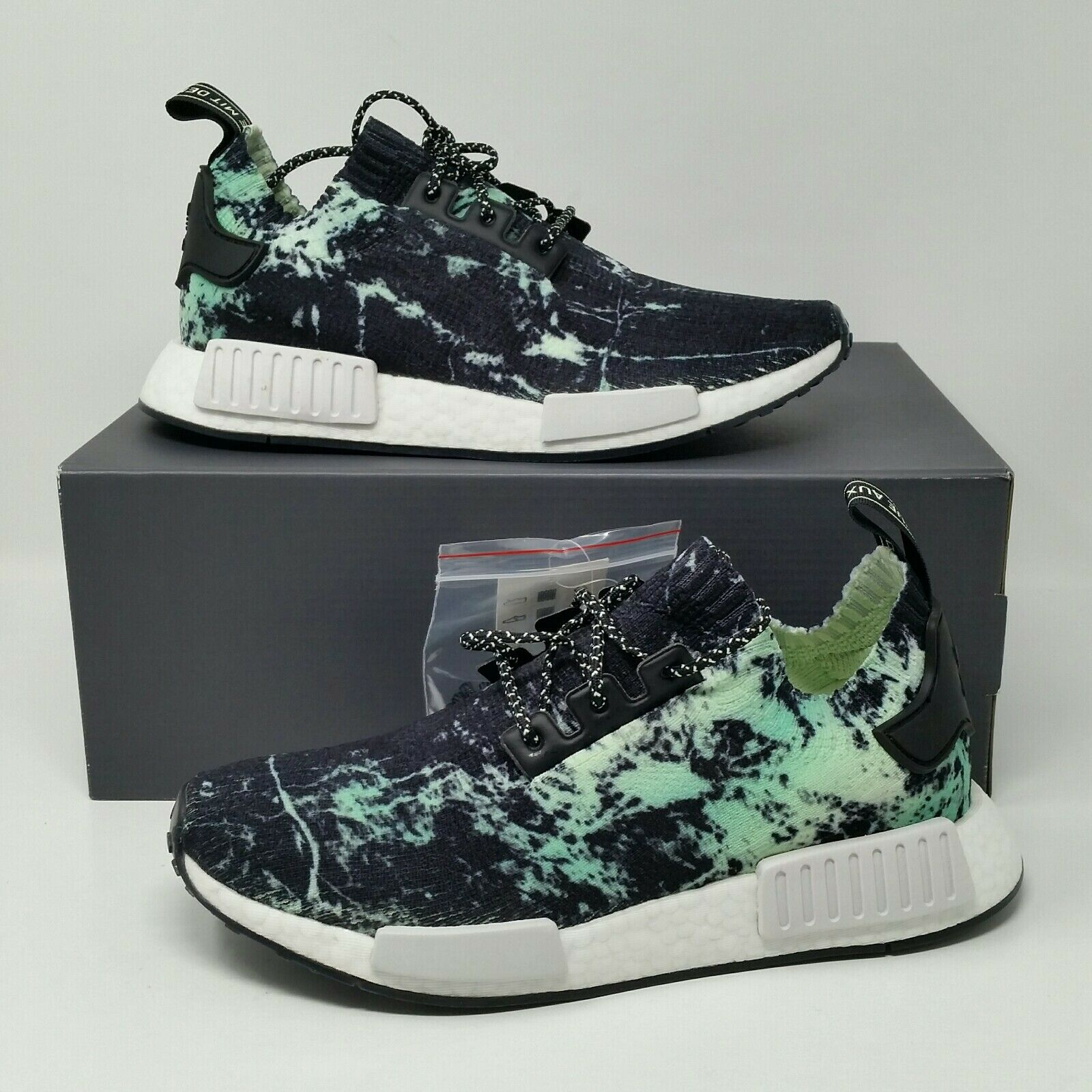 the best attitude eedbe 97d7e PK R1 NMD Adidas NEW Boost Green Flash Marble Sneakers 8.5 ...