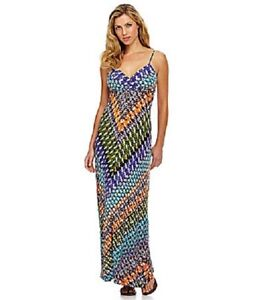 Calvin-Klein-CD3N2807-Multi-Color-Mixed-Media-Stretch-Jersey-Maxi-Dress-14R