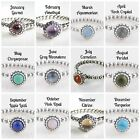 Birthstone Solid 925 Sterling Silver Natural Gemstone European Dress Ring
