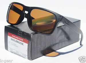 066a7d98ab Image is loading OAKLEY-Holbrook-POLARIZED-Sunglasses-Matte-Black-Bronze -NEW-