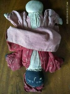 1800s EARLY Americana TOPSY-TURVY African American Handmade CLOTH DOLL 1 Antique