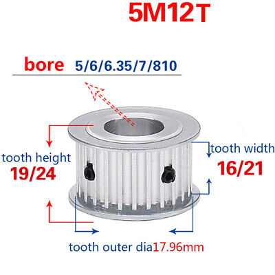 HTD 5M-12T-16W 5//6//6.35//8mm Bore Pitch-5mm Timing Belt Drive Pulley 12 Tooth
