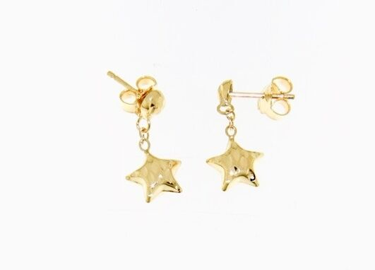 18K YELLOW gold EARRINGS WITH VERY SHINY STAR WORKED MADE IN ITALY 0.51 INCHES