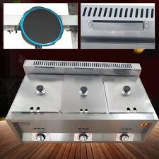 Commercial Gas Deep Fryer Food Warmer Steamer Countertop Deep Gas Fryer 3 Wells