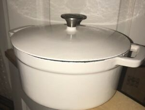Details about 5 1/2 quart enameled cast iron Dutch oven Cream White FOOD  NETWORK
