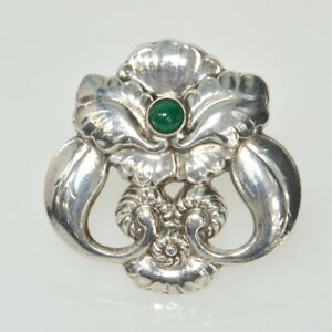 723648a4e444f Details about VINTAGE Georg Jensen Denmark Sterling Silver Green Onyx  ORCHID # 97 Pin Brooch