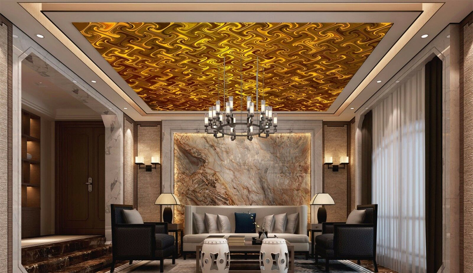 3D Glass gold 743 Ceiling WallPaper Murals Wall Print Decal Deco AJ WALLPAPER