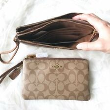 877ae46f Coach Double Zip Wallet Wristlet in Signature Coated Canvas F16109