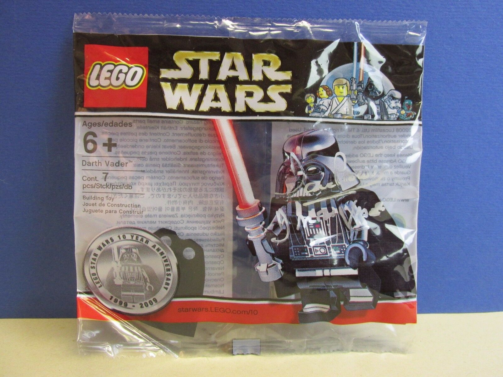 Signée par par par David Prowse LEGO Star Wars Chrome Darth Vader figurine polybag RARE 8ef048