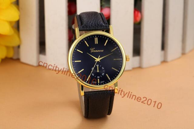 New Simple Face Gold Dial Leather Band Fashion Men Women Quartz Wristwatch Gift