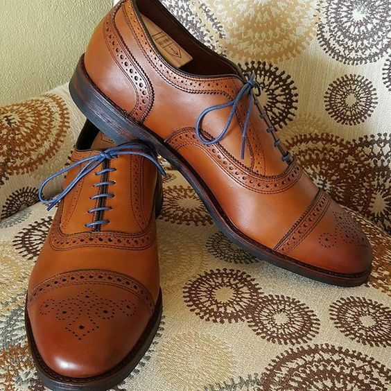 Handmade Men Oxford brogue shoes, Men Tan brown formal shoes, Men leather shoes