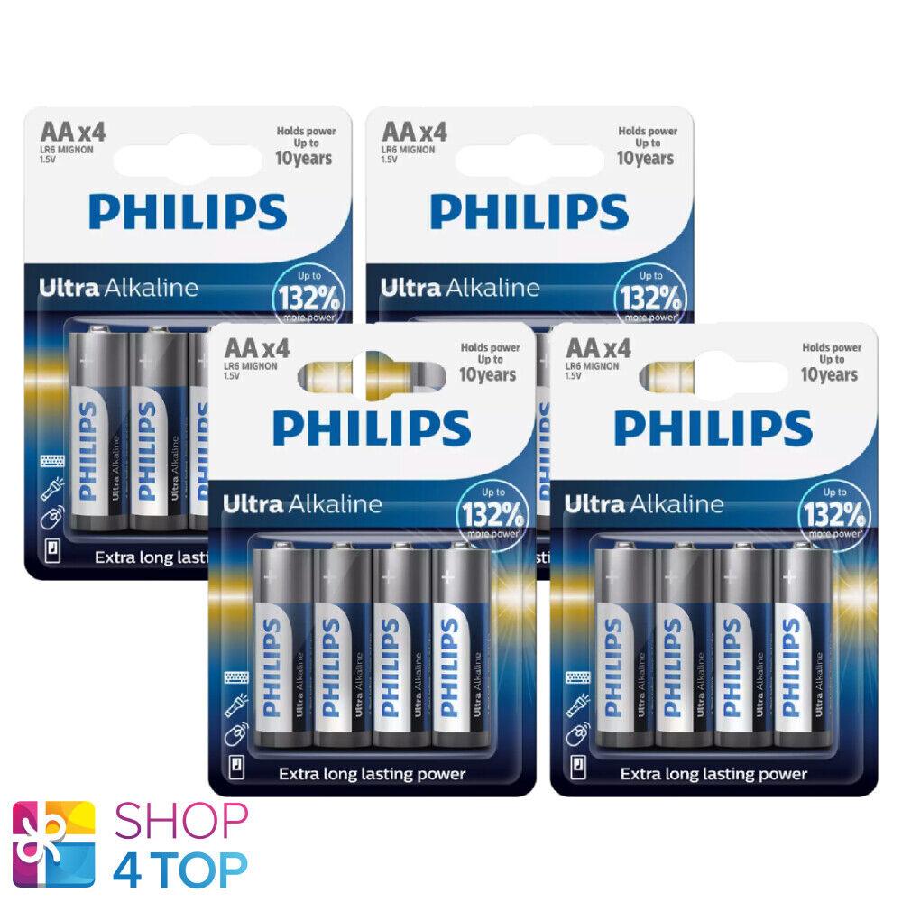16 Philips Ultra Alkaline AA Batteries Mignon LR6 1.5V Blister 4BL EXP 2030 NEW