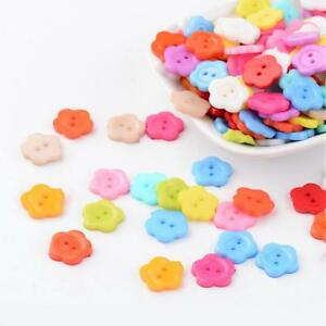 LOT-de-50-BOUTONS-FLEURS-FLOWER-2-TROUS-acrylique-12mm-multicolores-tricot
