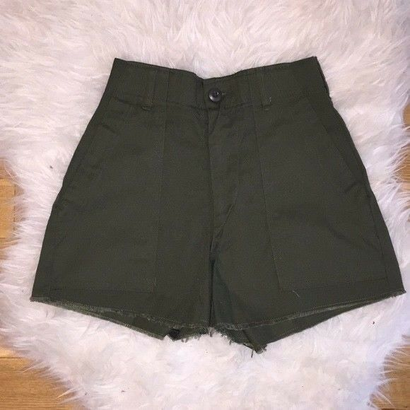 Vintage Womens Olive Green Military High Waisted Shorts