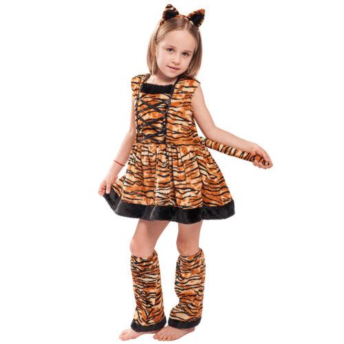 Girls Tiger Costume Dress Leg Lovely Halloween Head Band And Warmer Cat Warmers