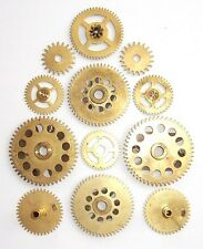 Lot 12 vintage clock brass large gears wheels 20-40 mm. for Steampunk parts #1