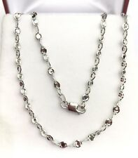 """18k Solid White Gold Italy Shiny Link Chain/Necklace Dimond Cut. 18"""". 4.05 Grams"""