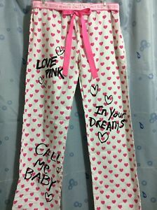 a0b9b23bcc25e Details about Victorias Secret Pink Cotton Pajama Lounge Pants XS/S Vintage  GRAFFITI LOOK NWOT