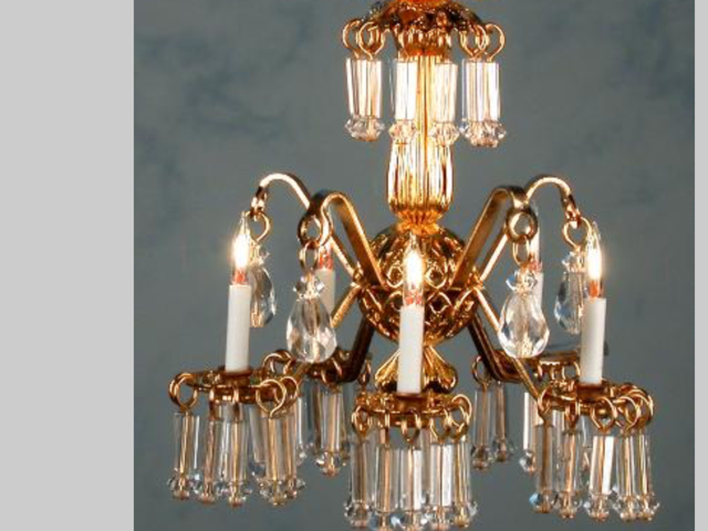 Dollhouse Miniature Lighting Electrical  CHANDELIER  LORD ROBERT  - oro