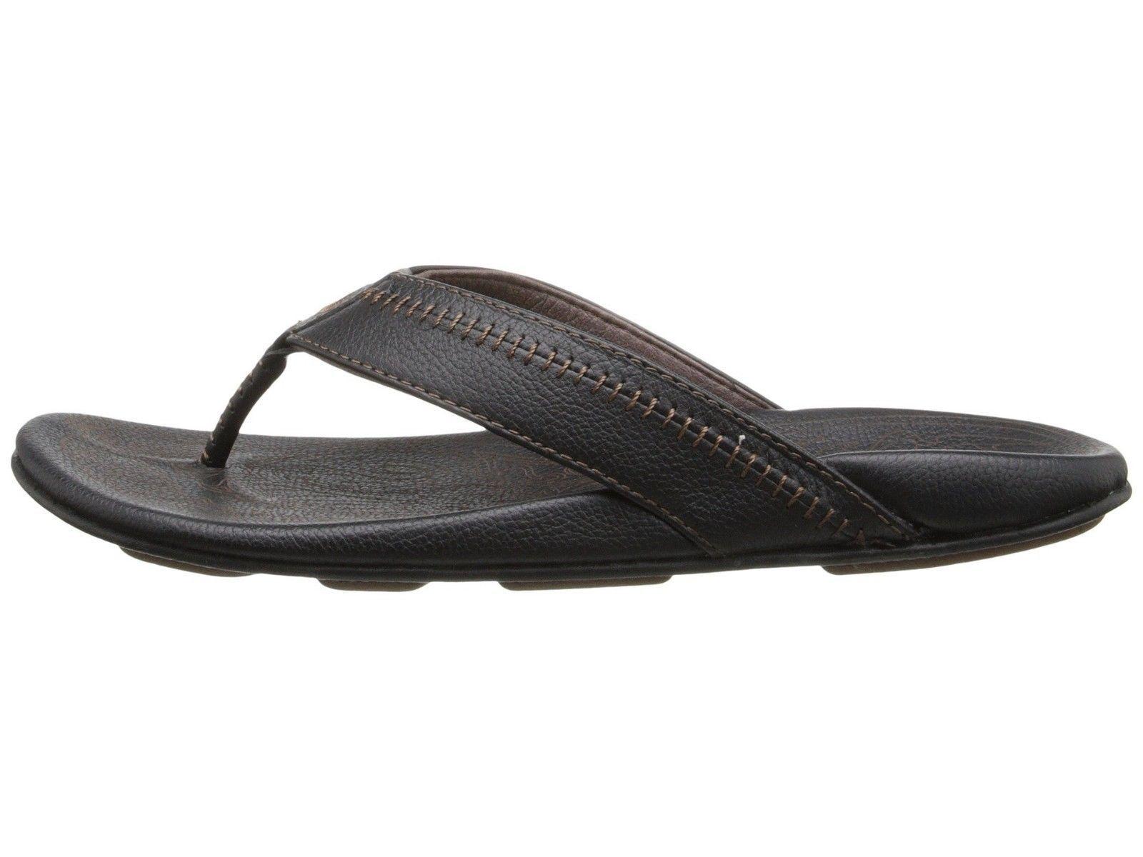 OluKai Hiapo Black Men's Premium Leather Sandal 10101-4040 10101-4040 Sandal d1e603