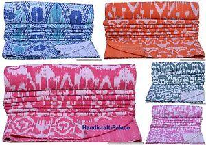 Indian-Handmade-Ikat-Throw-Kantha-Quilt-Reversible-Bedspread-Twin-Blanket-Ralli