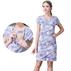 Summer Short Sleeve Maternity Nursing Dress Breastfeeding Dresses Cotton V Neck Ebay