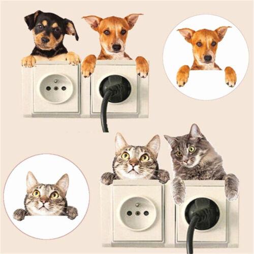 4Pc Cat Dog Switch Sticker Surround Wall Sticker Vinyl Mural Decor Home Decals ♫