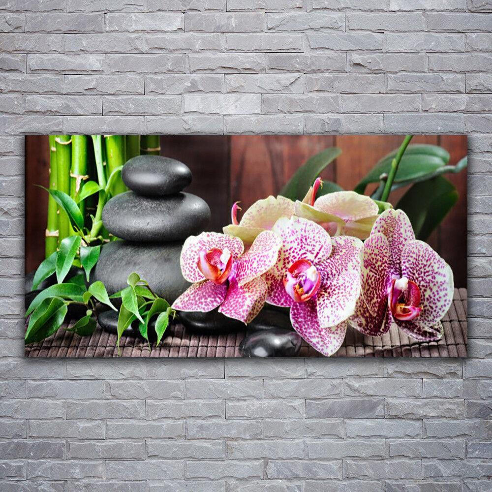 Photo sur toile Tableau Image Impression 120x60 Floral Pierres Bambou Fleurs