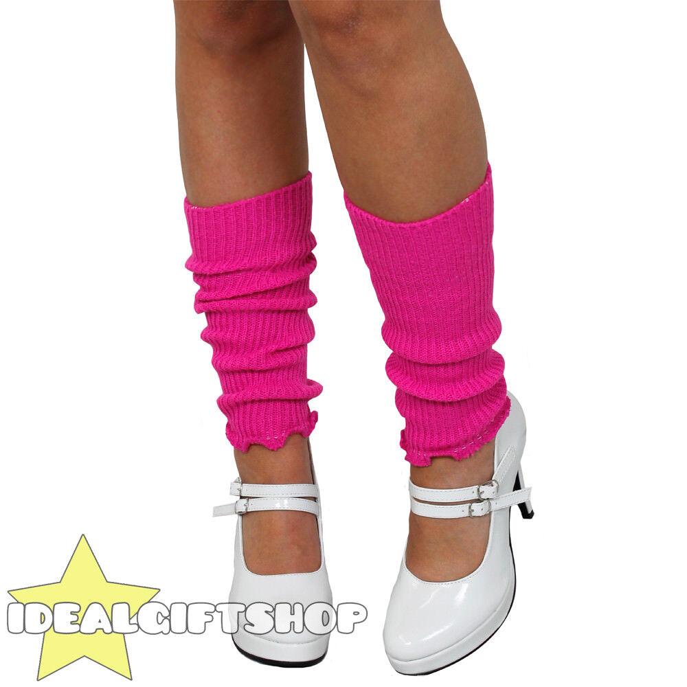 HOT PINK LADIES 1980'S LEG WARMERS ADULTS DISCO FANCY DRESS LEGWARMER TUTU
