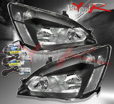 2003-2006 HONDA ACCORD 2/4DR JDM CRYSTAL HEADLIGHTS BLACK CLEAR LAMPS w/ 6K HID