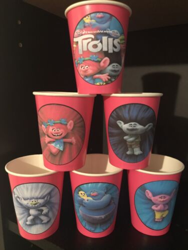 PINK 12 Trolls Movie Birthday Party Paper Cups