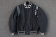 Golden Bear San Francisco Leather Wool Varsity Jacket Size M Black Coat Vtg