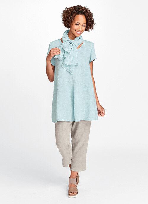 Flax Designs  LINEN  Shirt  Tee  S & M  NWT 2018 NEUTRAL Simplest Tee SEA GLASS