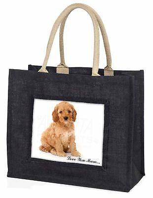 cockerpoodle Welpe ' Liebe, die sie Mama' große schwarze Einkaufstasche