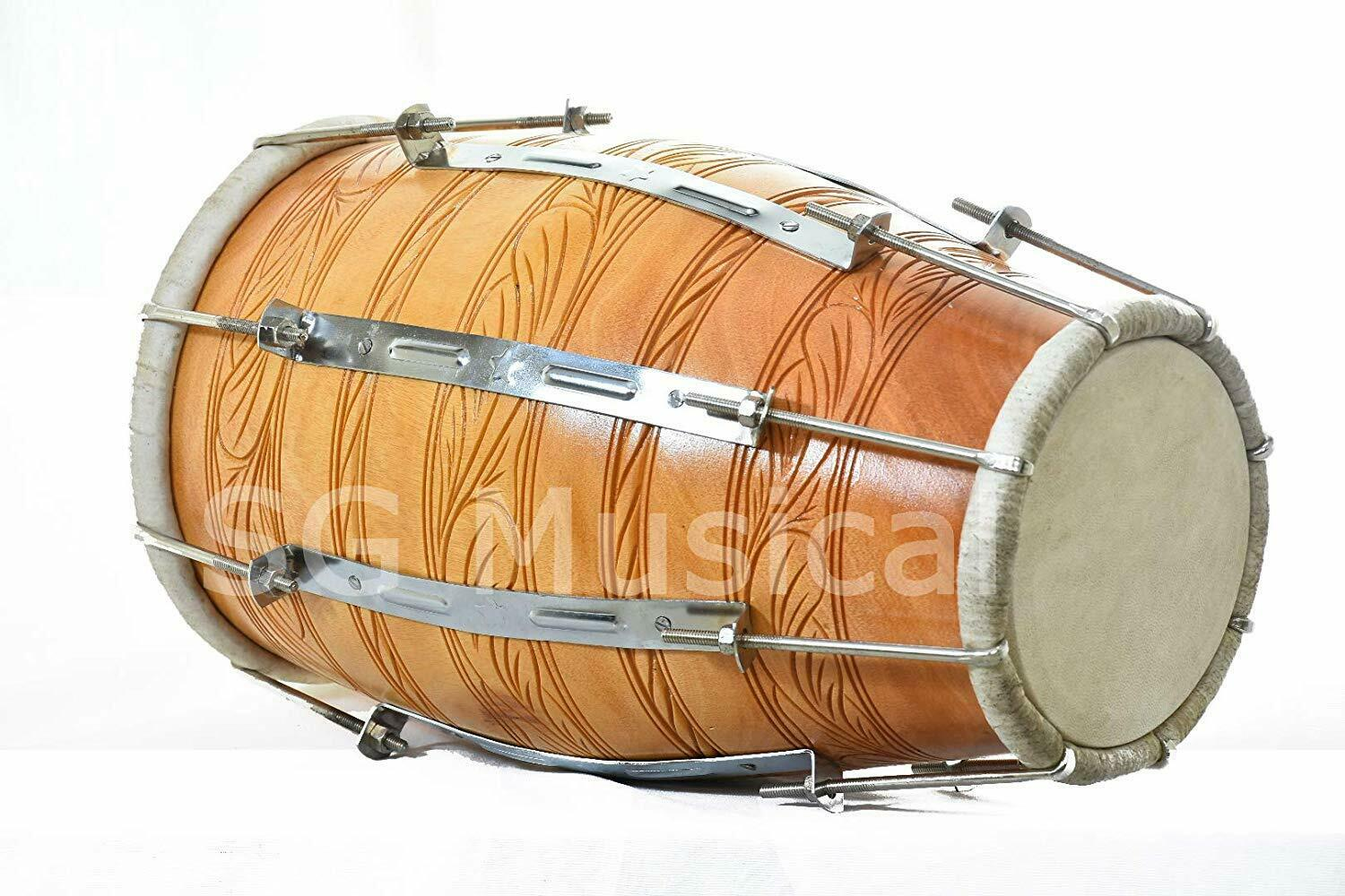 SG Musical - Dholak, Mango Wood, Bolt-Tuned, Tuning Spanner, Carry Bag