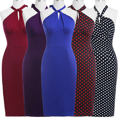Vintage Fashion 1950s Retro Cocktail Party Swing Pinup Wiggle Summer Slim Dress