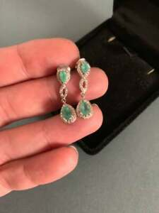 Vintage-Emerald-amp-Diamond-14k-White-Gold-Over-2-80Ct-Women-Drop-Dangle-Earrings