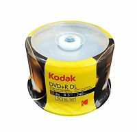 100-pk Kodak Brand 8x Logo Top Dvd+r Dual Layer Dl Disc 8.5gb