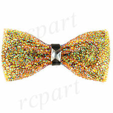 New in box Men's Crystal blink Pre-tied Bow Tie only yellow Formal wedding