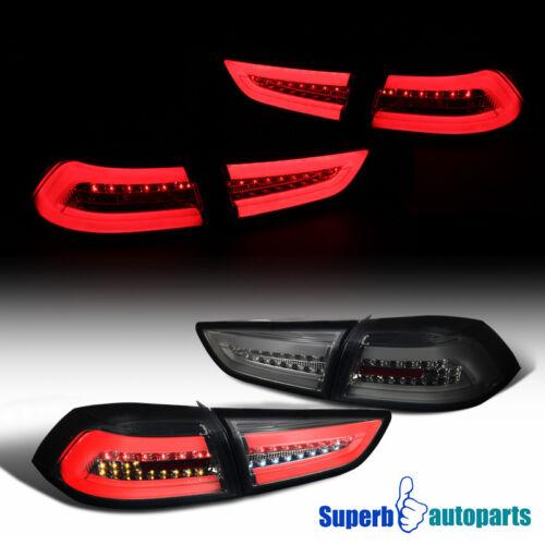 For 2008-2017 Mitsubishi Lancer// Evo Smoke Full LED DRL Brake Lamps Tail Lights