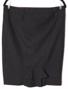 Guess-Women-039-s-Solid-Black-Straight-Pencil-Lace-Up-Skirt-Above-knee-Size-30