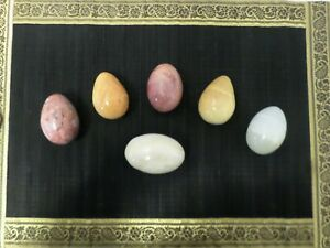 Vintage-Lot-of-6-Marble-Alabaster-Polished-Natural-Stone-Easter-Eggs