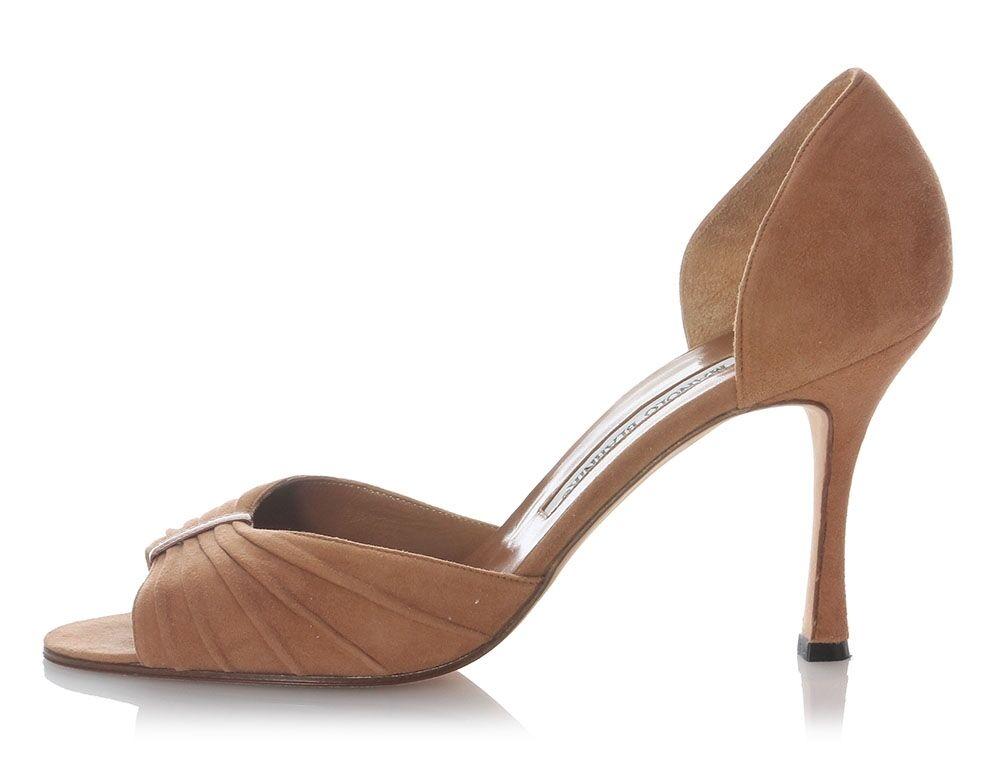 MANOLO BLAHNIK Brown Suede Peep Toe Heels, Size 39 8.5 shoes