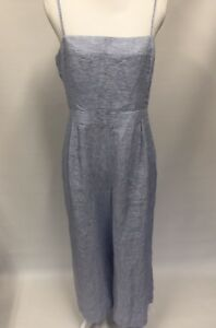 a3be1554288d Image is loading J-Crew-Striped-Linen-Jumpsuit-With-Tie-Sz-