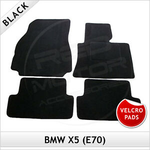 BMW-X5-E70-2006-2013-Velcro-Pads-Tailored-Fitted-Carpet-Car-Floor-Mats-BLACK